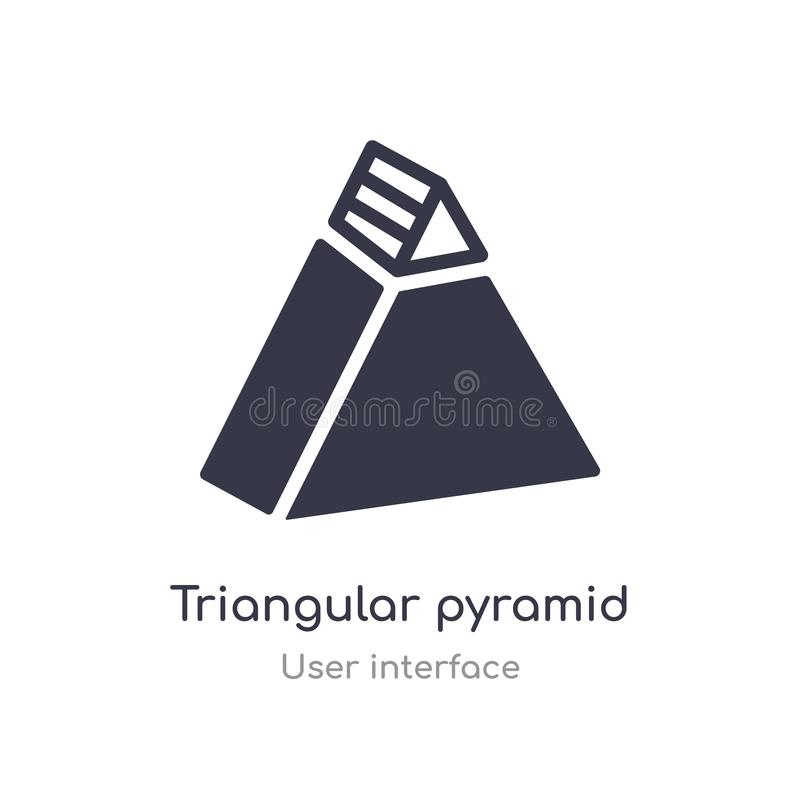 Triangular pyramid outline icon. isolated line vector illustration from user interface collection. editable thin stroke triangular. Pyramid icon on white stock illustration
