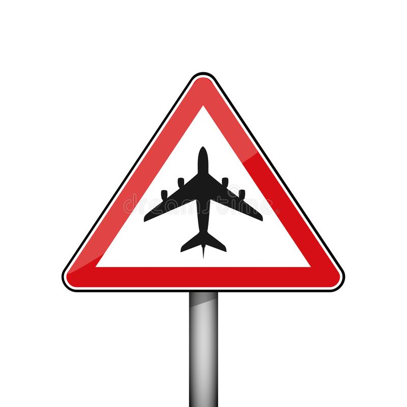Triangular red road sign with air plane vector illustration