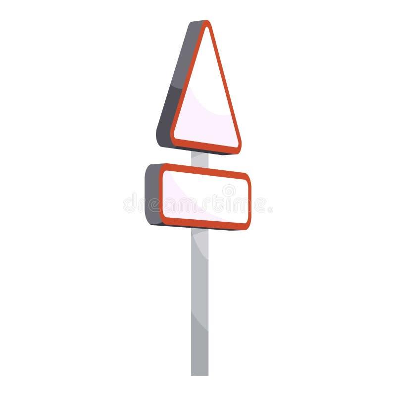 Triangular road sign icon, cartoon style stock illustration