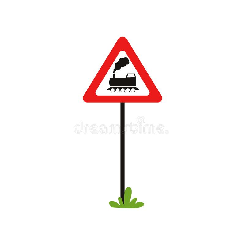 Triangular road sign with train without barrier . Railroad crossing ahead. Flat vecrtor element for mobile game or book stock illustration