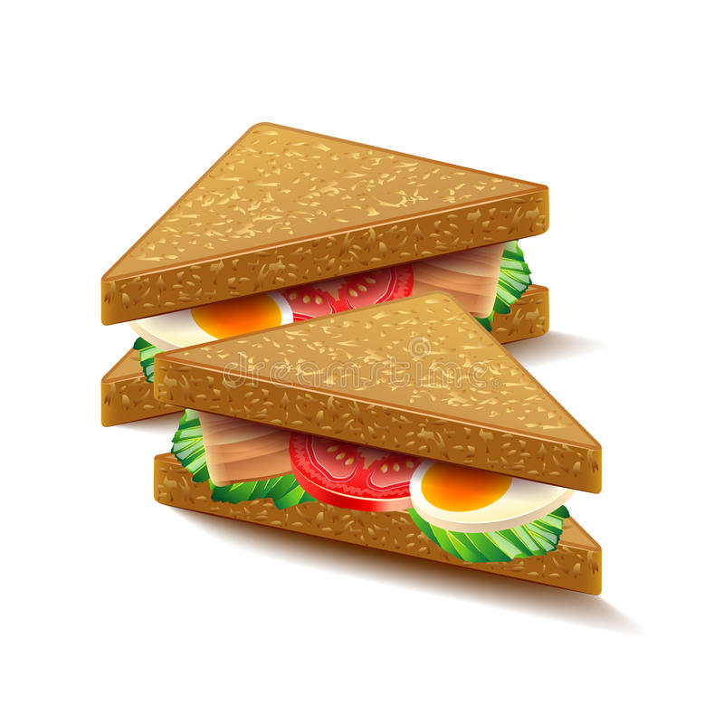 Triangular sandwiches isolated on white vector. Triangular sandwiches isolated on white photo-realistic vector illustration vector illustration
