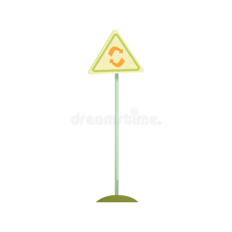 Triangular sign with a recycle symbol, waste processing and utilization cartoon vector Illustration vector illustration