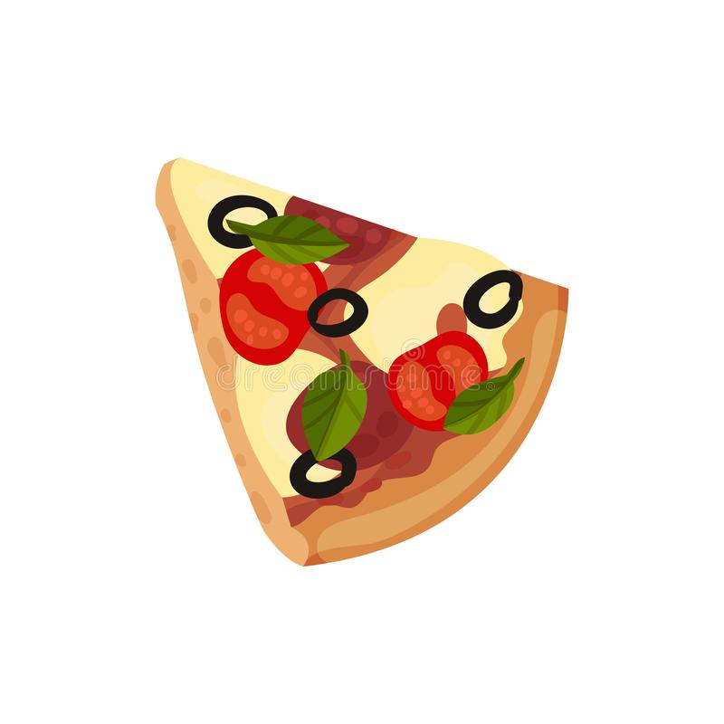 Triangular slice of pizza. Vector illustration on white background. royalty free illustration