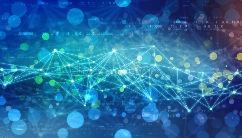 Triangular tech background with connections, Internet Connection technology background royalty free stock photos