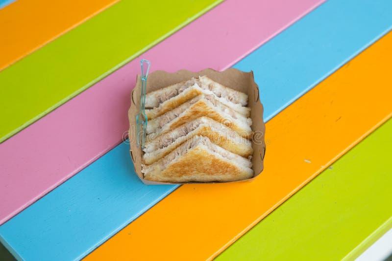 Triangular toast sandwiches tuna diagonally cut stock photo