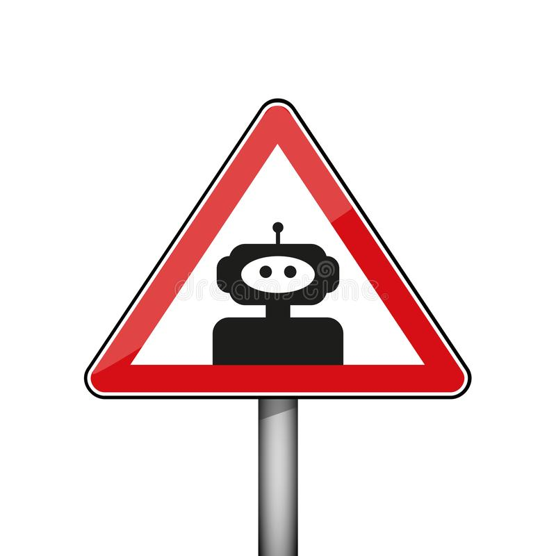 Triangular warning sign with robot stock illustration