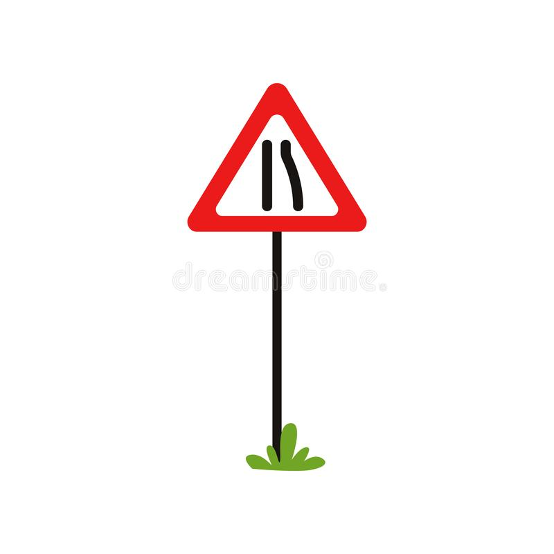 Triangular warning traffic sign road narrows to left. Flat vector design for educational book, infographic poster or vector illustration