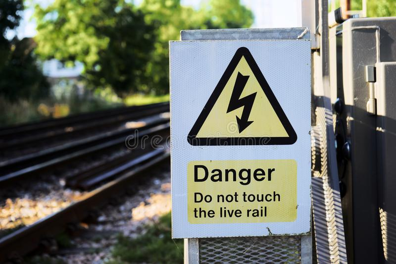 triangular yellow sign of the danger of electric shock royalty free stock photos