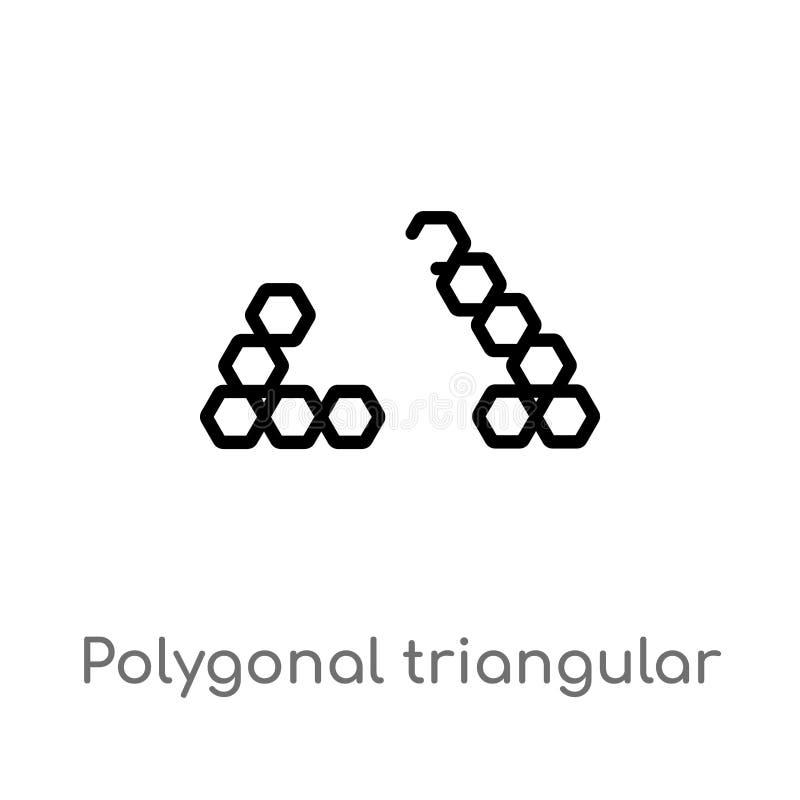 triangulares poligonales del esquema reciclan el icono del vector l?nea simple negra aislada ejemplo del elemento del concepto de ilustración del vector