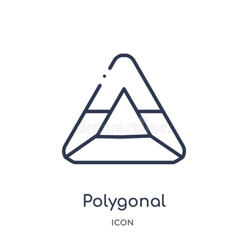 Triangulares poligonales lineares reciclan el icono de la colección del esquema de la geometría La línea fina triangular poligona stock de ilustración