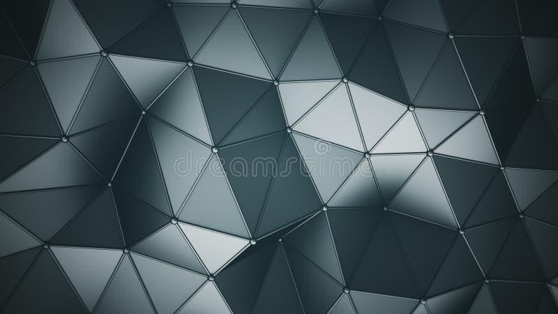 Triangulated полигональная поверхность 3D представляет иллюстрация штока