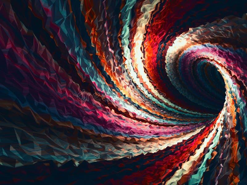 Triangulated spiral tunnel för tom böjelse, 3d stock illustrationer