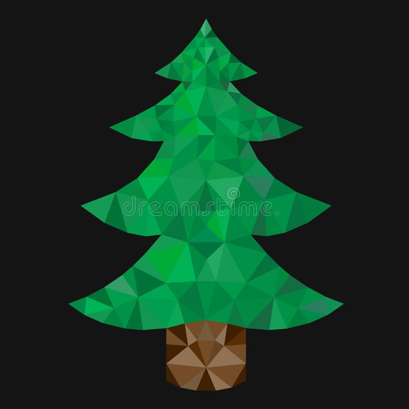 Triangulation of a fun Christmas tree on a black background. Triangulation of a Christmas tree on a black background royalty free illustration