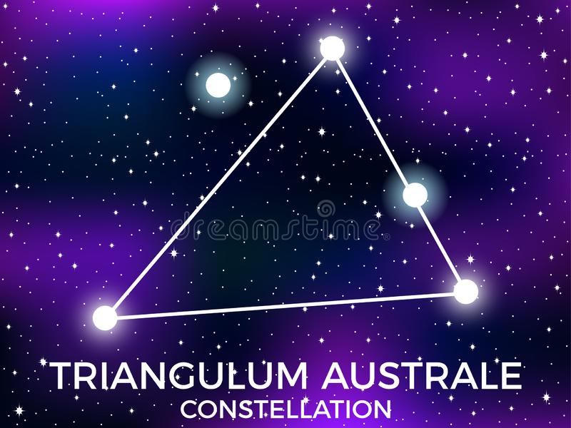 Triangulum Australe constellation. Starry night sky. Cluster of stars and galaxies. Deep space. Vector. Illustration royalty free illustration