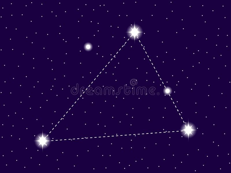 Triangulum Australe constellation. Starry night sky. Zodiac sign. Cluster of stars and galaxies. Deep space. Vector. Illustration vector illustration