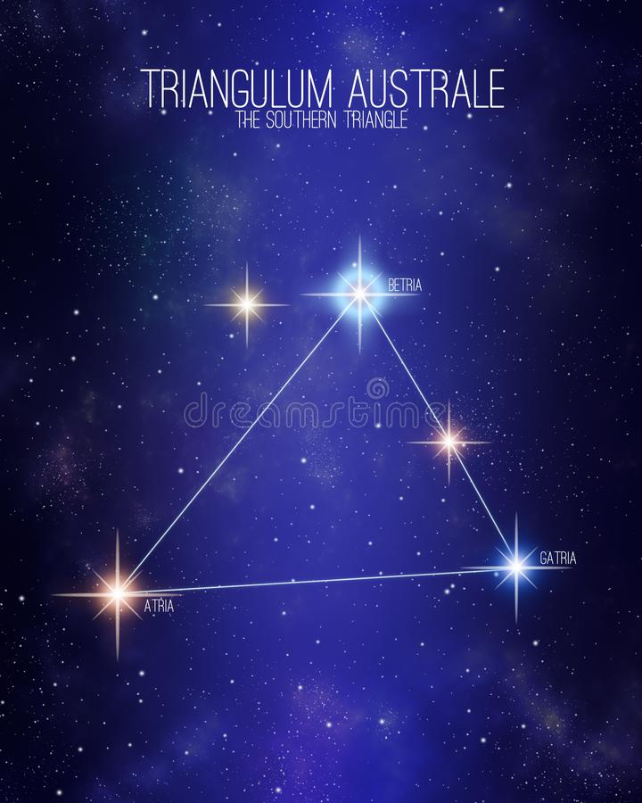 Triangulum australe constellation on a starry space background. Stars relative sizes and color shades based on their vector illustration