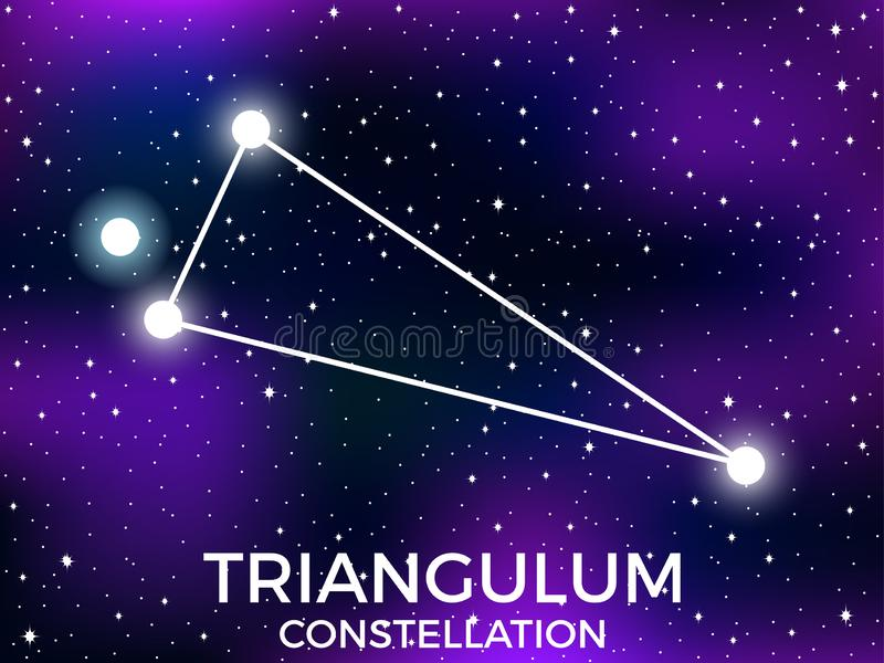 Triangulum constellation. Starry night sky. Zodiac sign. Cluster of stars and galaxies. Deep space. Vector. Illustration vector illustration