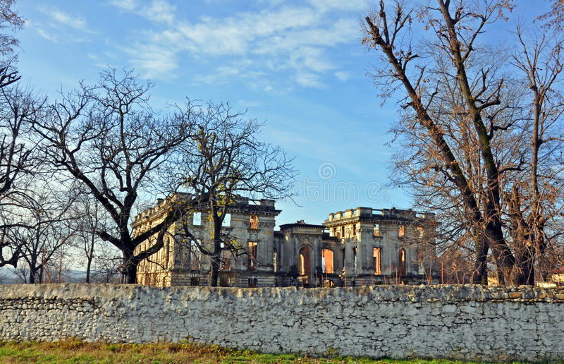 Trianon castle ruins over ancient wall stock images