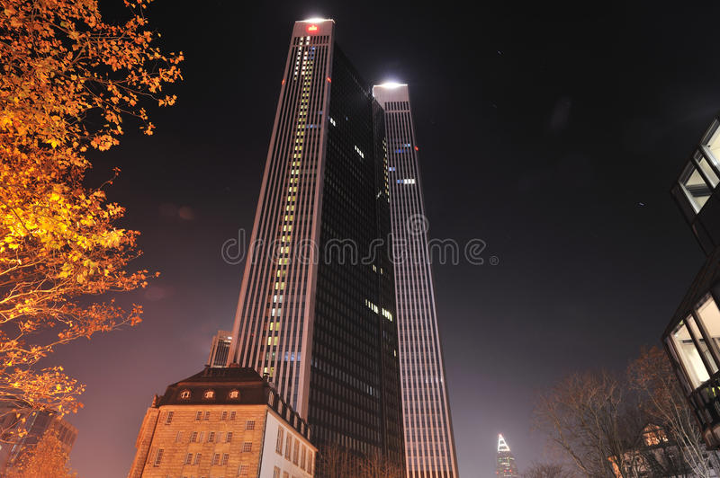 Trianon skyscrape tower by night stock images