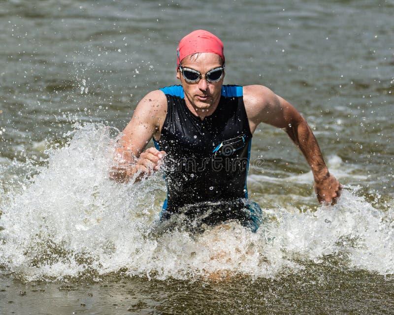 Triathlete che viene fuori ot acqua fotografia stock libera da diritti