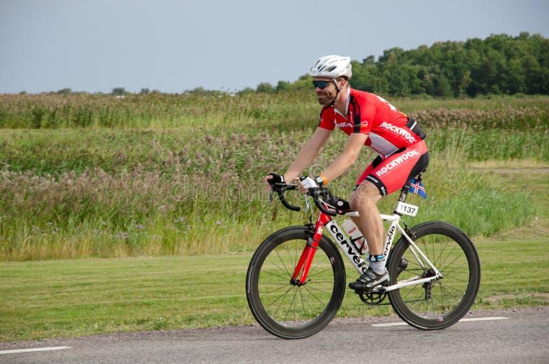 Triathlete danés en Ironman Suecia 2012 imágenes de archivo libres de regalías