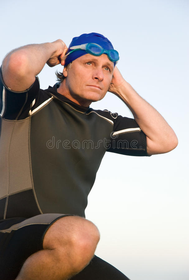 Triathlete determinado. fotografia de stock royalty free