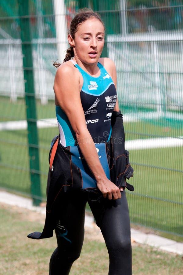 Triathlete femelle image stock