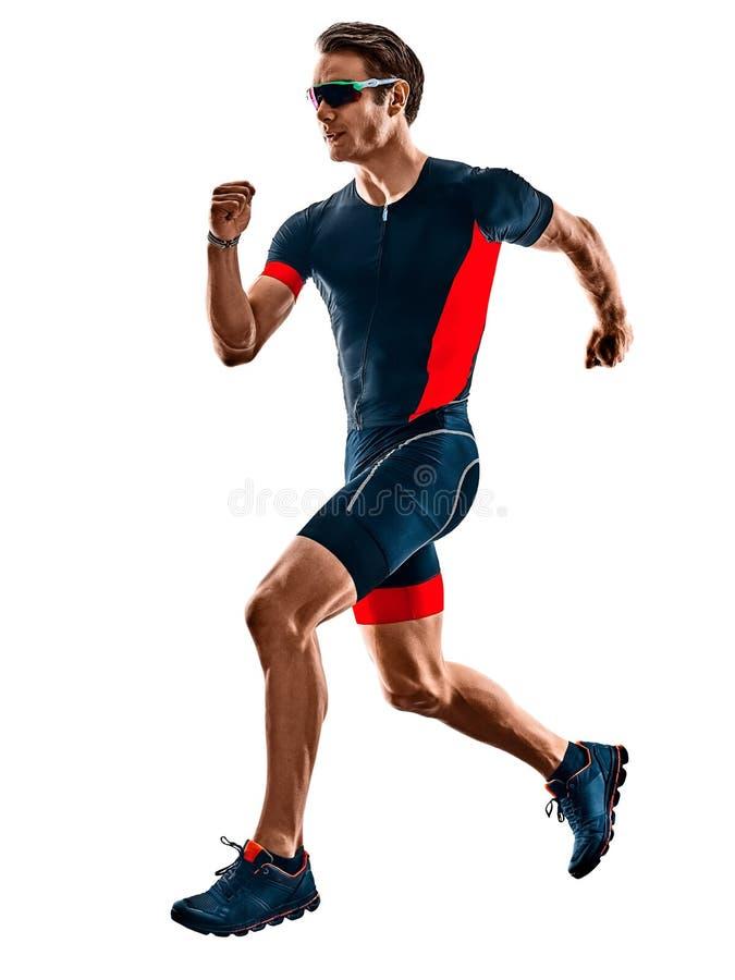 Triathlete triathlon biegacza dzia?aj?ca sylwetka odizolowywa? bia?ego t?o zdjęcia royalty free