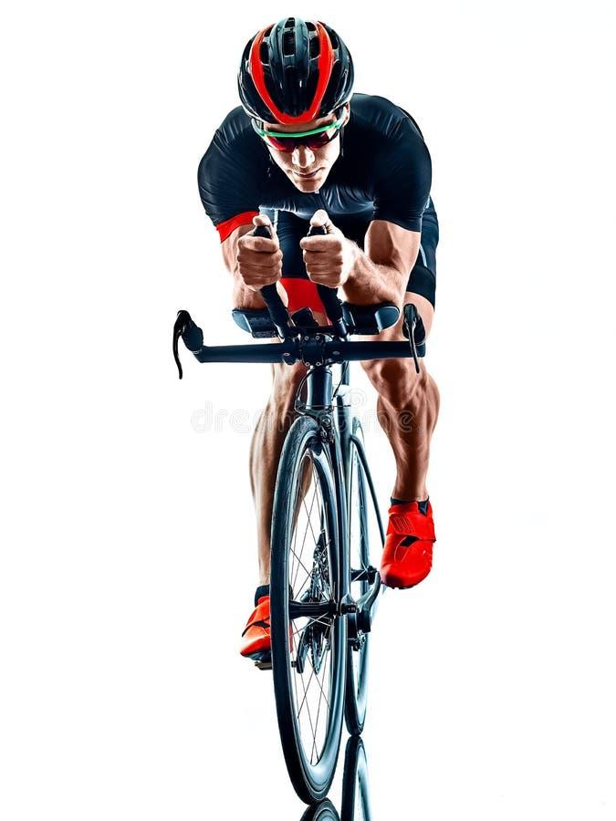 Triathlete triathlon cyklisty kolarstwa sylwetka odizolowywa? bia?ego t?o obrazy royalty free