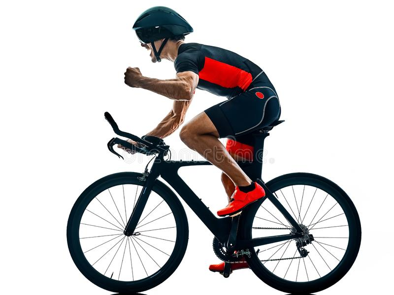 Triathlete triathlon cyklisty kolarstwa sylwetka odizolowywa? bia?y b fotografia stock