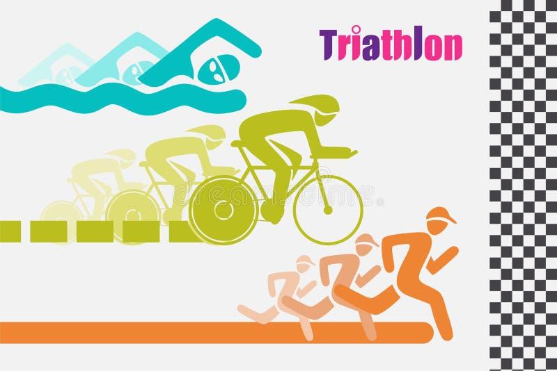 Triathletes游泳在五颜六色赛跑的跑的和循环的象对终点线 向量例证