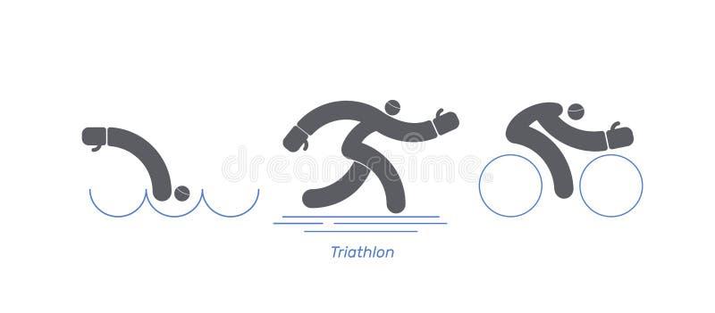 Triathlon activity vector sport bike. Logo run swim runner.Icons - swimming, running, bike. Sports pictogram set. Isolated  logo b stock illustration