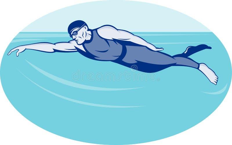 Triathlon athlete swimming royalty free illustration