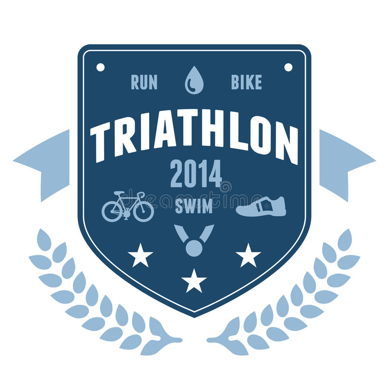 Triathlon badge emblem design royalty free illustration