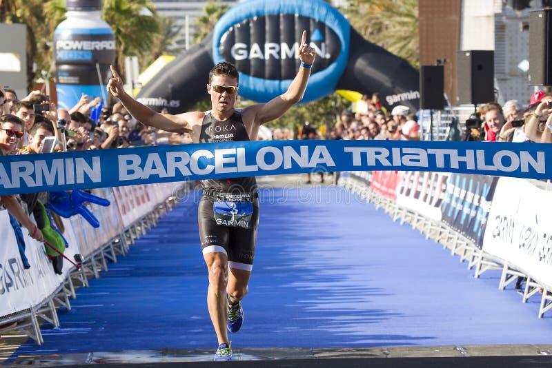 Triathlon Barcelona - Biegający obraz royalty free