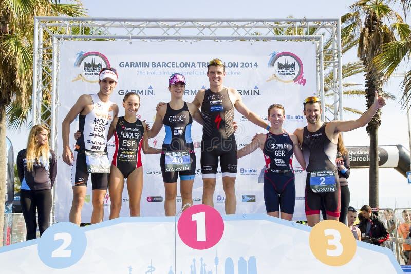 Triathlon Barcelona - podio foto de archivo