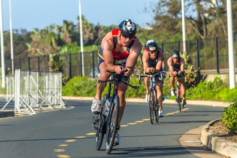 Triathlon Champs Athletes Cycling Road Action. Triathlon National Champs Durban, South-Africa - March 24 , 2019 :Athletes cycling action morning roads course stock images