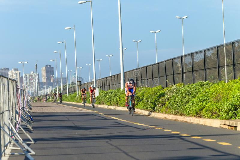 Triathlon Champs Athletes Cycling Road. Triathlon National Champs Durban,South-Africa - March 24 , 2019 :Athletes cycling action morning roads course second leg royalty free stock images
