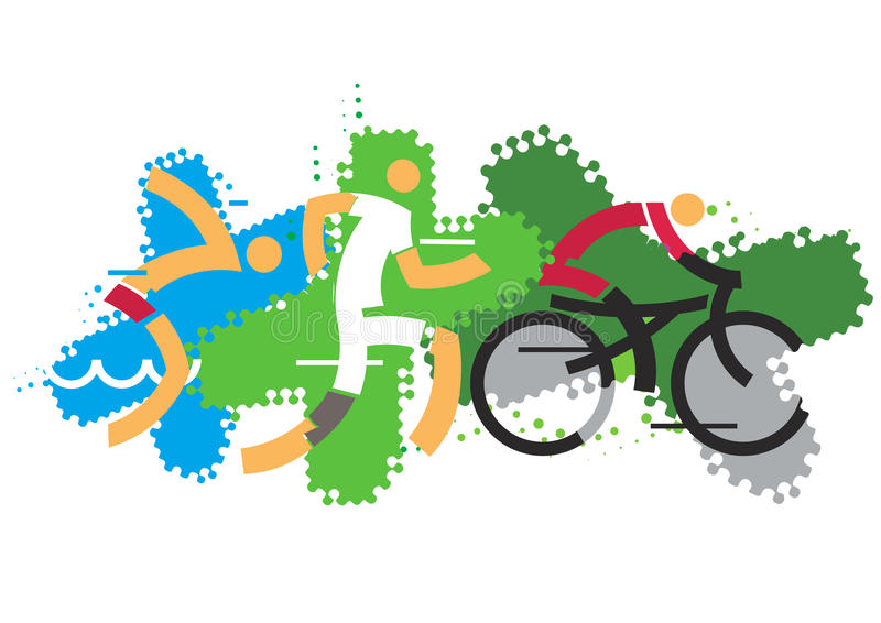 Triathlon competitors. vector illustration