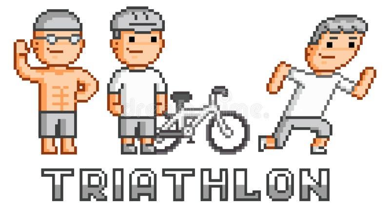 Triathlon de logo de pixel illustration stock
