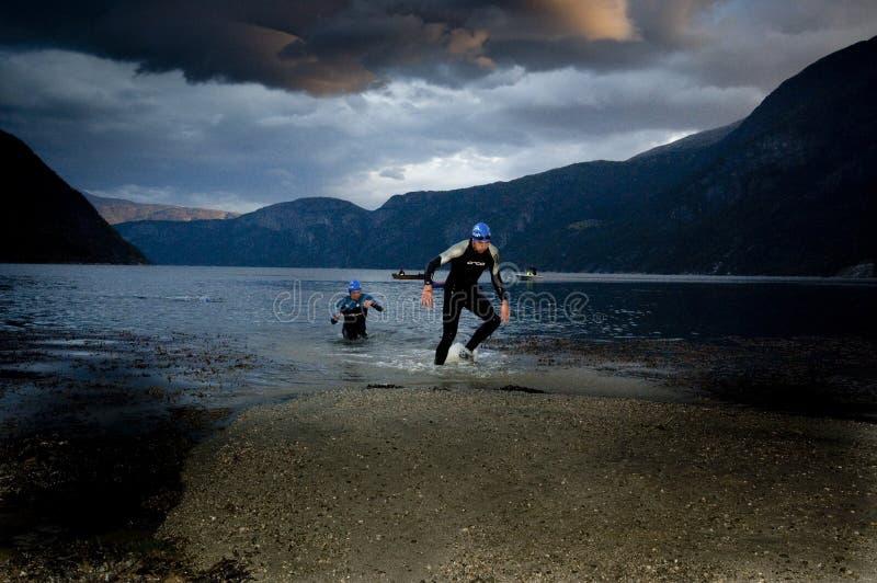 Triathlon de Xtreme do Norseman fotografia de stock royalty free