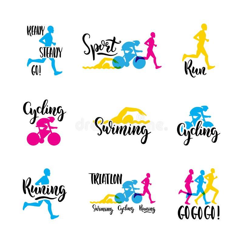 Triathlon del deporte del logotipo stock de ilustración