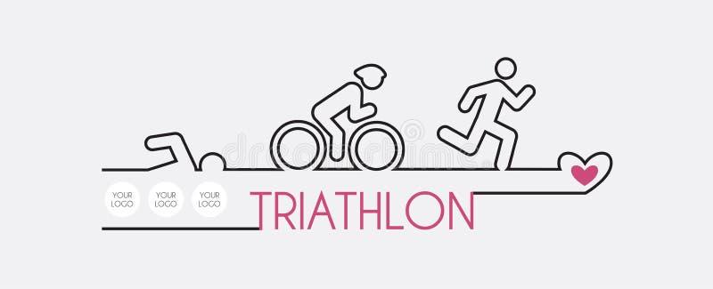 Triathlon del ejemplo del vector, diseño plano libre illustration