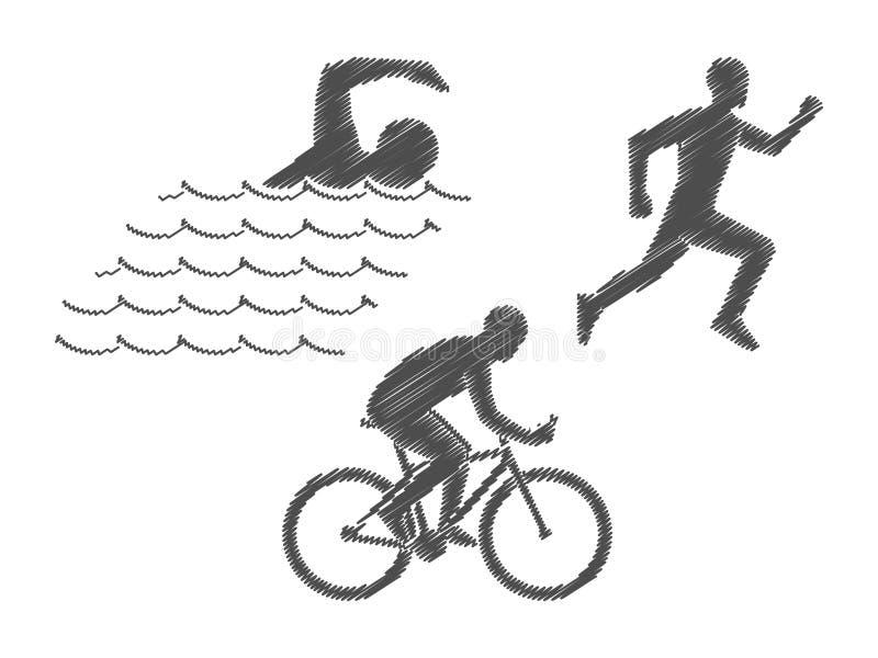 Triathlon för vektorblyertspennalogo Svart figurerar triathletes på en whi royaltyfri illustrationer