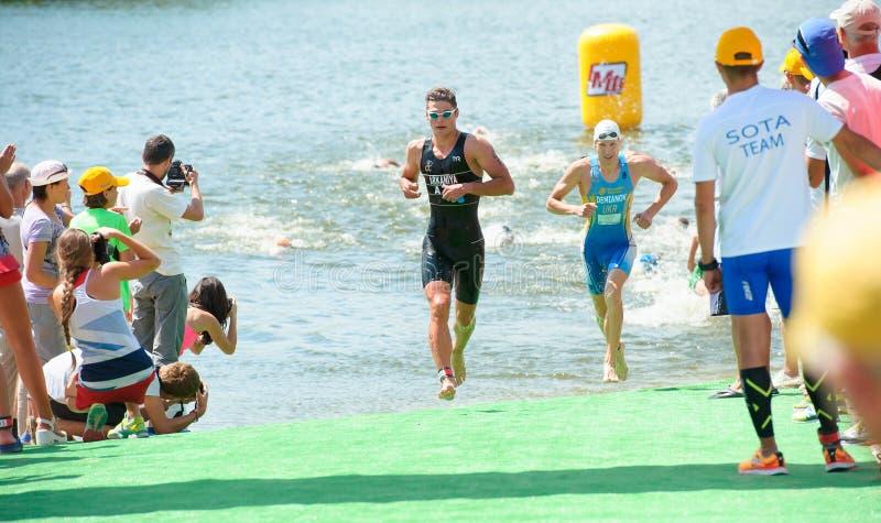 Triathlon filiżanka Ukraina i filiżanka Bila Tserkva Lipiec 24, 2016 zdjęcie royalty free