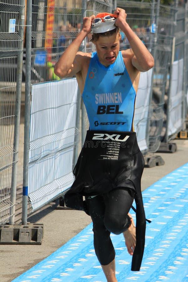 Triathlon Genebra, Switzerland imagem de stock royalty free