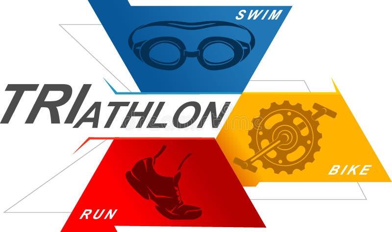 Triathlon Geometryczny symbol ilustracji
