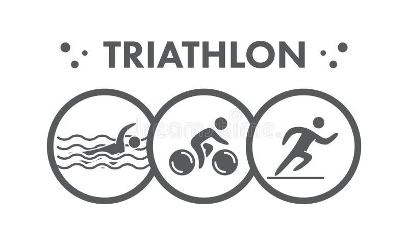 Triathlon ikona i logo Pływający, jeździć na rowerze, biegający symbol ilustracja wektor