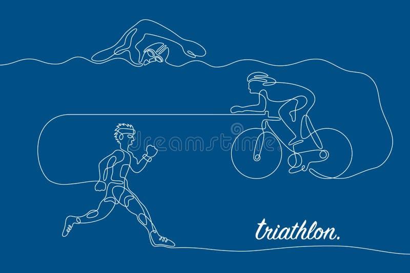 triathlon Linea grafico lineare illustrazione di stock