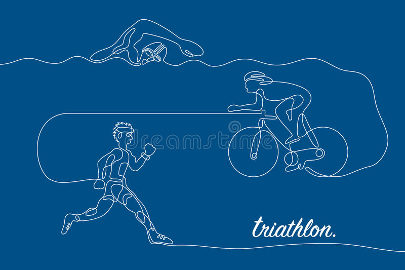 triathlon Liniowa kreskowa grafika ilustracji